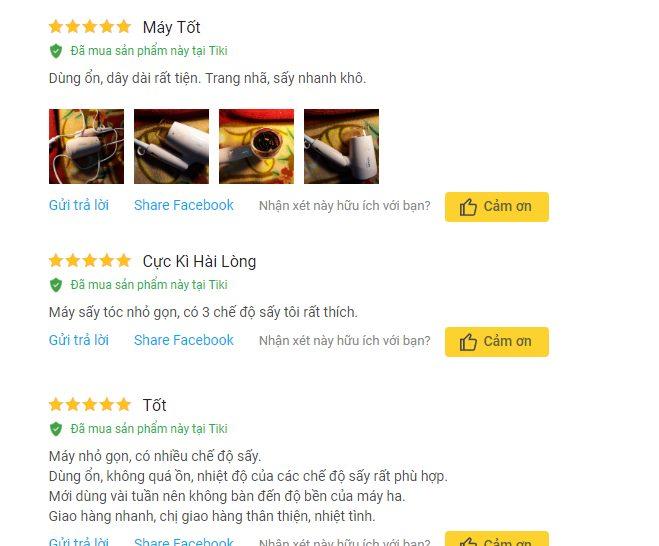Người dùng rất hài lòng về chất lượng sản phẩm