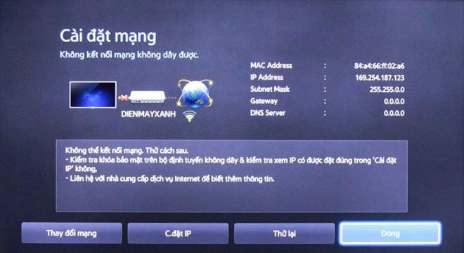 Lỗi kết nối mạng trên smart tivi