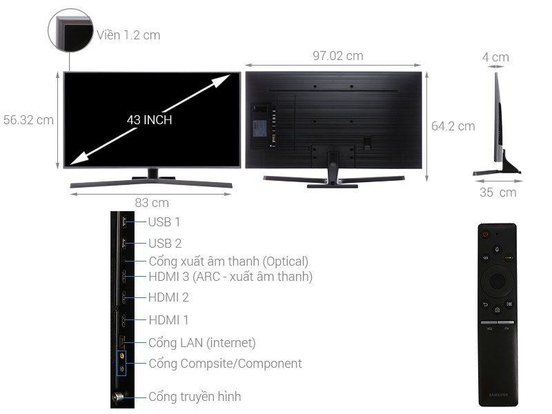 Cấu tạo của chiếc Smart Tivi Samsung 4K 43 inch UA43NU7400