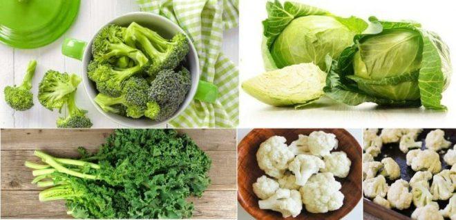 Bông cải xanh và bắp cải sống