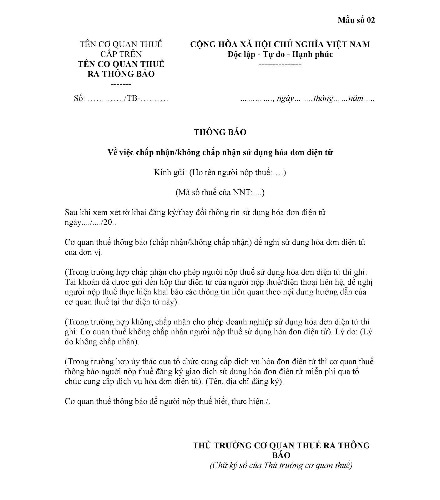 Mẫu số 02 Thông báo về việc chấp nhận sử dụng hóa đơn điện tử