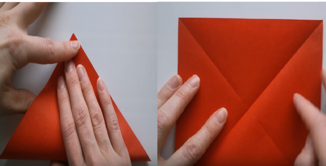 Gấp tờ giấy origami làm đôi thành hình tam giác