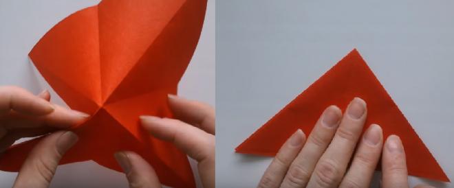 Tạo thành hình tam giác nhỏ mới
