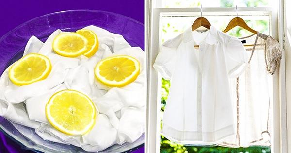 Kết quả hình ảnh cho cách tẩy sạch vết ố quàn áo bằng chanh