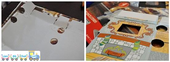 Bước 1: Các mẹ tháo cái hộp giấy một cách cẩn thận. Cắt 4 hình tròn ở 2 bên cạnh hộp, có đường kính bằng hoặc lớn hơn các lõi giấy 1 chút. Cắt 1 hình chữ nhật ở mặt trước hộp giấy, cách đều đường tròn.