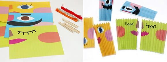 Đầu tiên, các mẹ hãy cắt giấy thành 2 miếng với kích thước 20x50cm, sau đó vẽ những hình thù tùy thích lên đó.