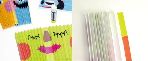 Sau đó các mẹ tiến hành gấp giấy thành những đường gấp đều nhau như trong hình