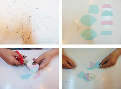 Bước 1: Các mẹ dùng một tấm bìa cứng vẽ các chi tiết của chú cá gồm: thân cá, vây cá. Sau đó lấy vải nỉ cắt theo khuôn và ráp các chi tiết lại với nhau để tạo hình chú cá hoàn chỉnh