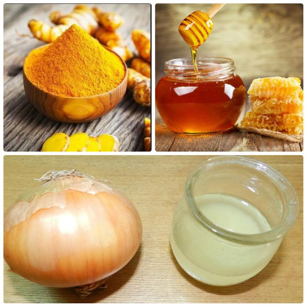 Nước ép hành tây tươi trộn với mật ong và nghệ ở dạng bột có thể tạo nên điều kì diệu chovòng 1của bạn.