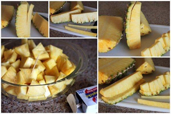Việc cắt bỏ phần vỏ quả dứa rồi cắt theo từng miếng vừa ăn vô cùng tiện và tiết kiệm thời gian