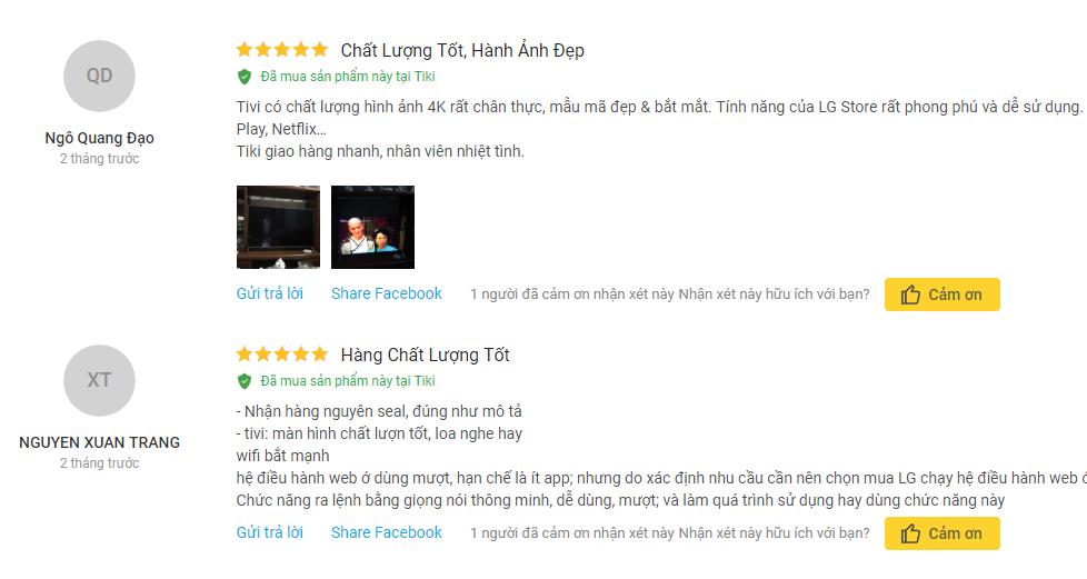 Nhận xét khách hàng về Smart Tivi 4K UHD 43 inch LG 43UJ750T tại Tiki
