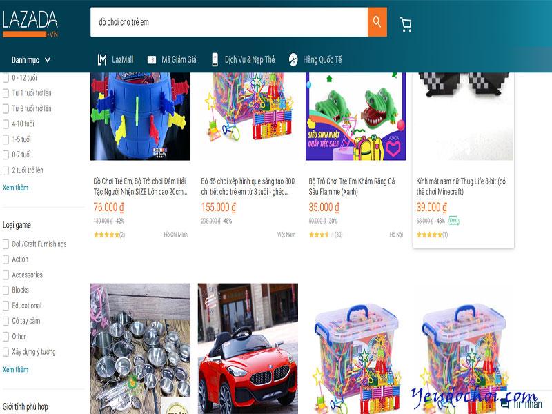 """Khi search """"đồ chơi cho trẻ em"""" trên Lazada.vn, hàng trăm lượt kết quả hiện ra giúp bố mẹ dễ dàng chọn lựa sản phẩm phù hợp"""