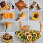 3 .Cách làm giỏ hoa hướng dương bằng giấy nhún đơn giản, dễ làm.