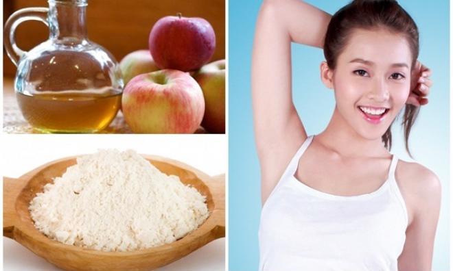 Vùng da dưới cánh tay thâm đến mấy cũng trắng mịn chỉ cần dùng giấm táo với bột gạo