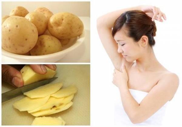 Bạn cũng có thể sử dụng nước ép của khoai tây nghiền nguyên hoặc đơn giản là cắt khoai tây thành miếng mỏng và đắp lên nách.
