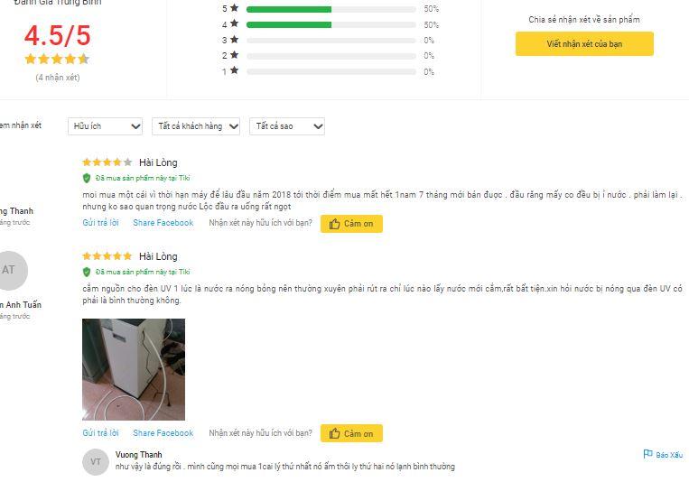 đánh giá của khách hàng trên Tiki
