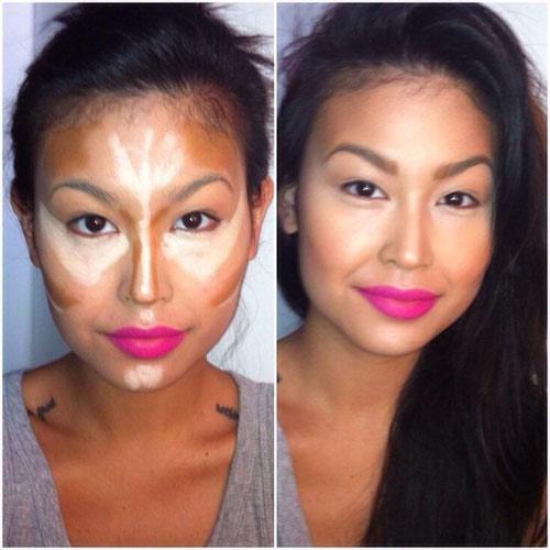 18. Mẹo đánh sáng tối: Bạn không biết sử dụng phấn highlight để nhấn nhá khuôn mặt. Hãy đánh theo sơ đồ sáng tối như trong hình và tán đều, bạn sẽ có một khuôn mặt rạng ngời xinh đẹp.