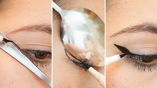 4. Mẹo hay vẽ mắt nước: Các cô gái có thể học cách vẽ mắt nước bằng thìa từ các chuyên gia trang điểm. Nếu bạn chưa quen tay trong việc vẽ mắt nước, hãy sử dụng một chiếc thìa úp ngược, chênh một góc 45 độ và yên tâm vẽ.