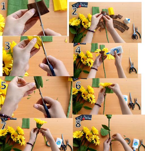Các bước làm hoa hướng dương từ giấy nhún.