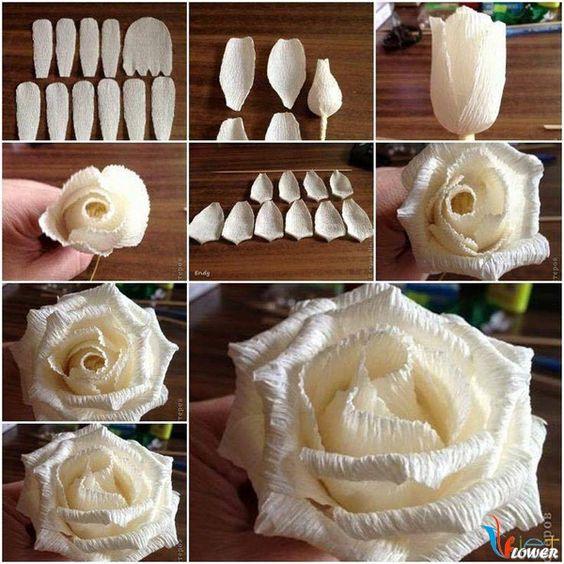 Các bước làm hoa hồng bằng giấy nhún đơn giản.