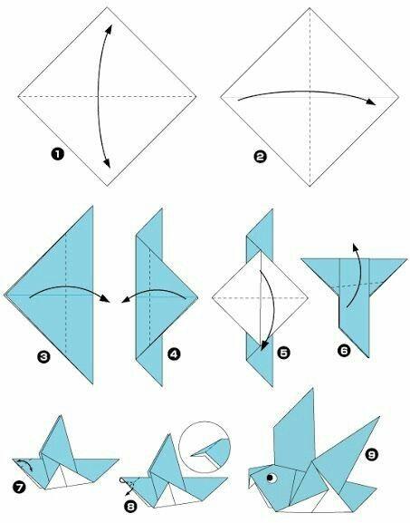 Gấp Origami hình con chim.