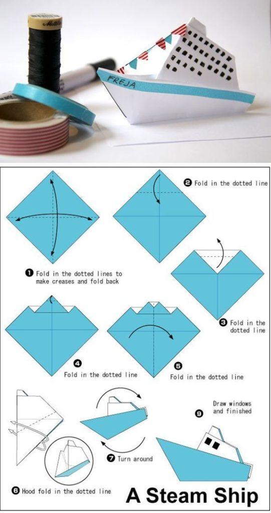 Gấp Origami hình con tàu