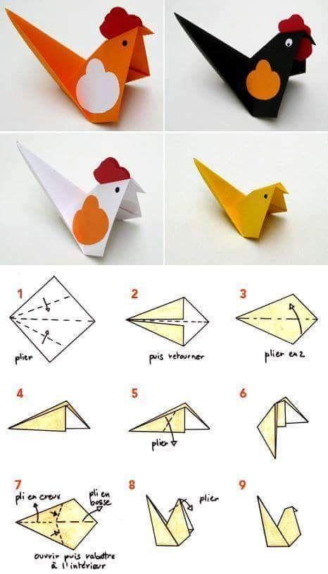 Nghệ thuật xếp giấy Origami hình con gà