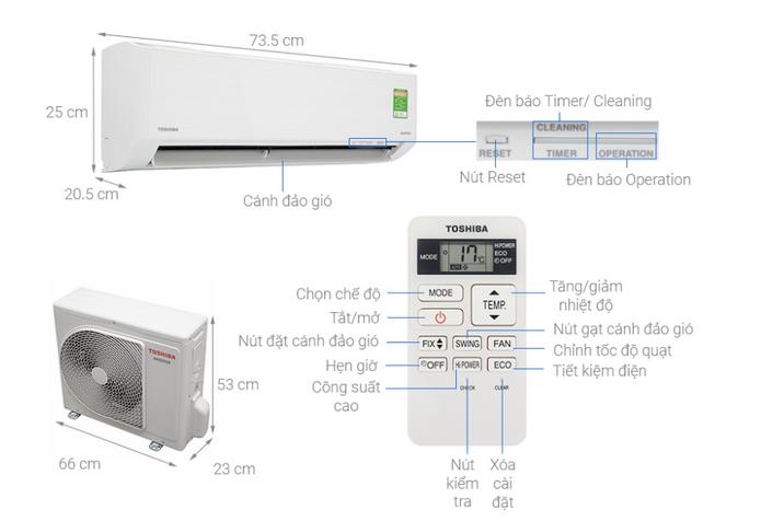Thông số kỹ thuật Máy lạnh internet Toshiba