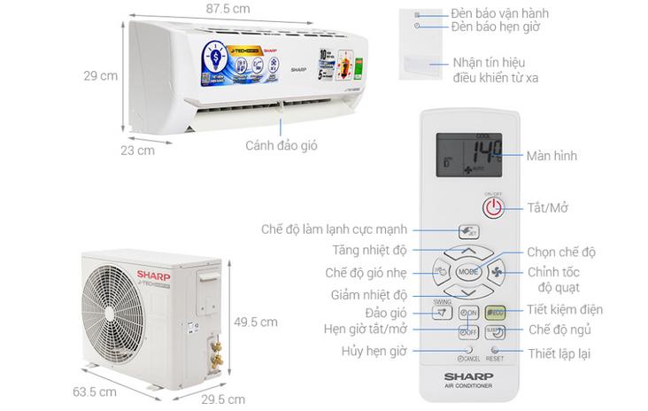 Thông số kỹ thuật Máy lạnh inverter Sharp