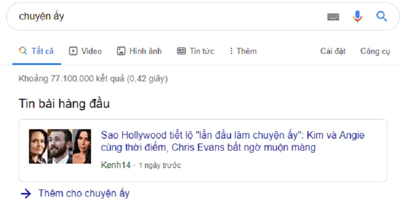 Google tìm chuyện ấy bao nhiêu kết quả