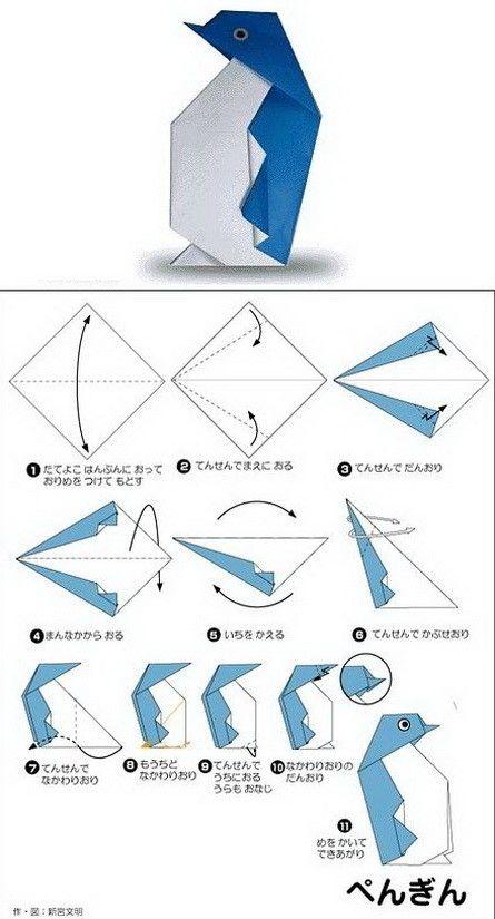 Xếp Origami hình chim cánh cụt
