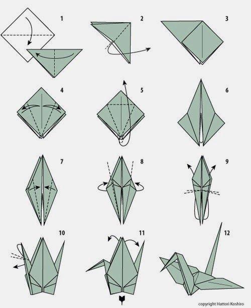 Xếp Origami hình con chim hạc