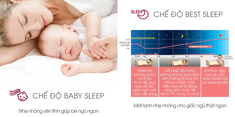 Chế độ baby sleep giúp bé ngủ ngon
