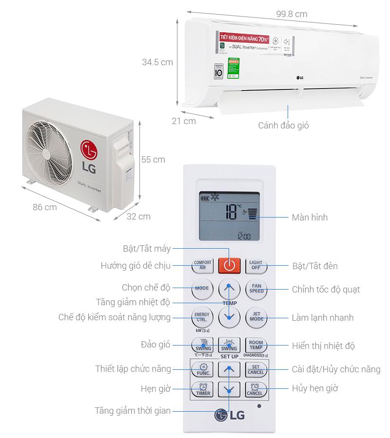 Các nút điều khiển của máy lạnh LG INVERTER 2HP V18ENF
