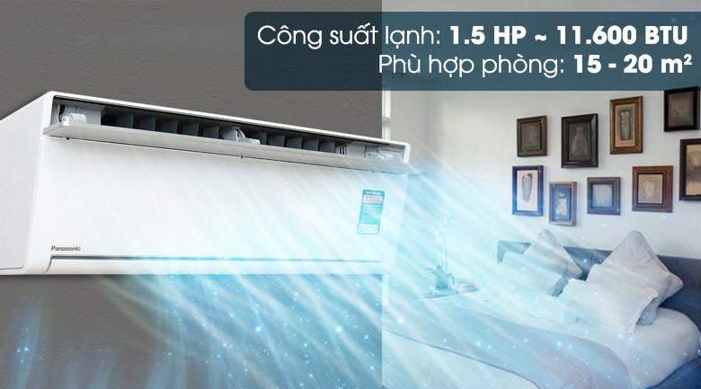 Máy lạnh Panasonic Inverter 1.5 HP CU/CS-VU12SKH-8 có công suất 1.5 HP