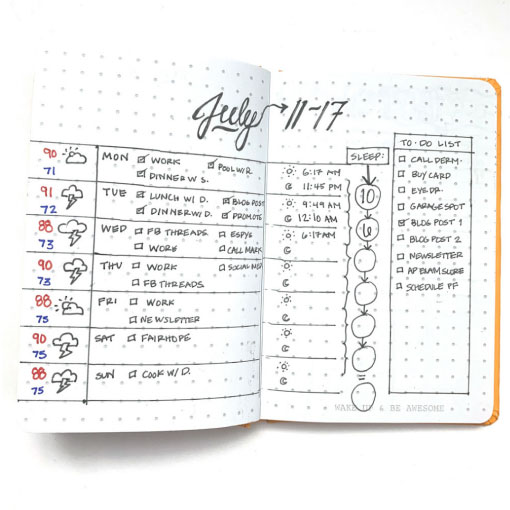 my first weekly spread