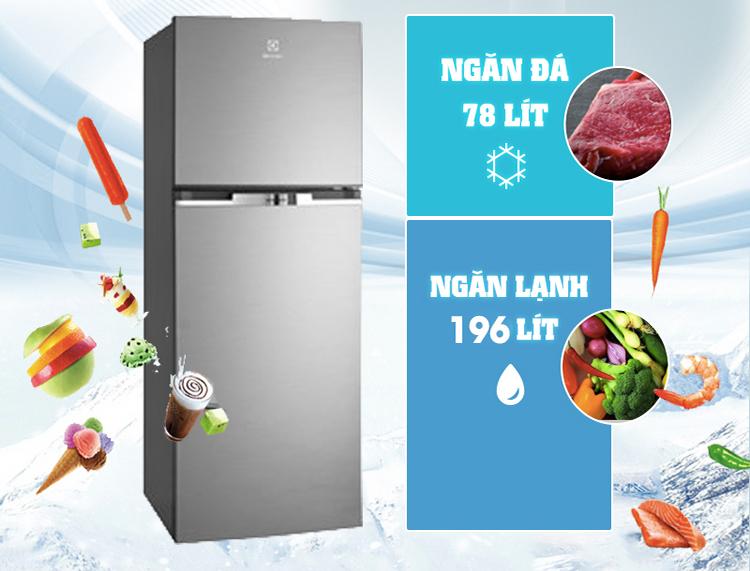 Tủ lạnh Inverter Electrolux ETB2600MG có dung tích 254 lít