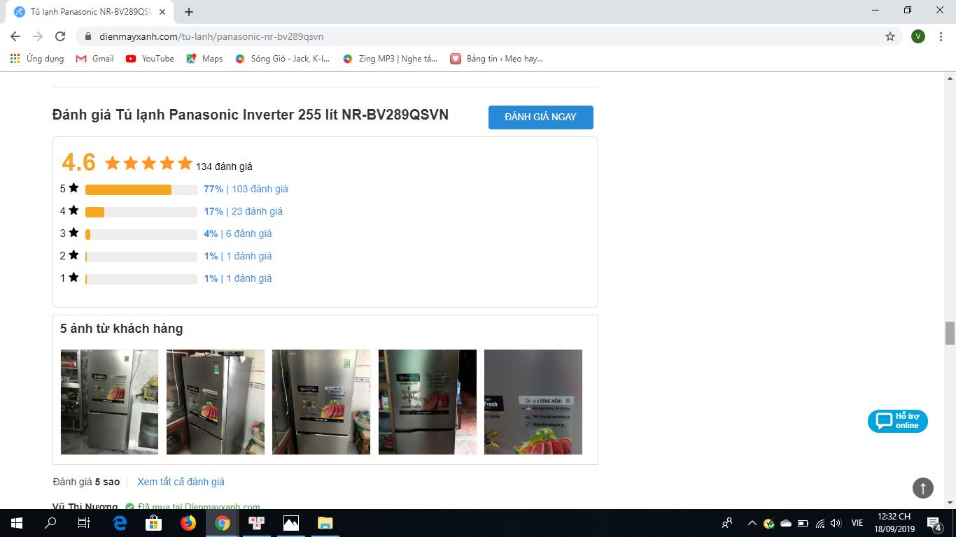 đánh gia người dùng tủ lạnh Panasonic 255 lít NR-BV289QSV2