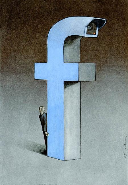 dùng facebook nấp sau màn hình