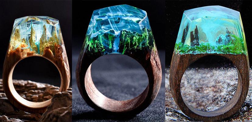 Sản phẩm nhẫn gỗ được kết hợp cùng Resin