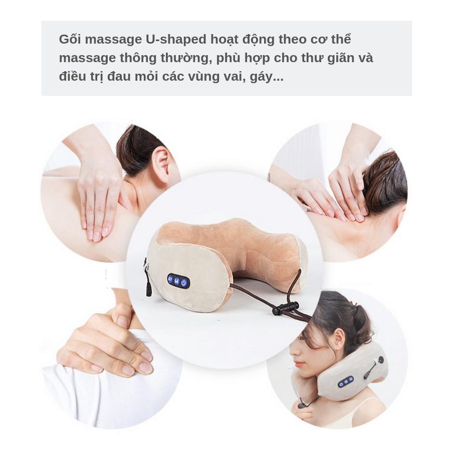Gối massage trị liệu đau cổ vai gáy U-shaped giúp thư giãn