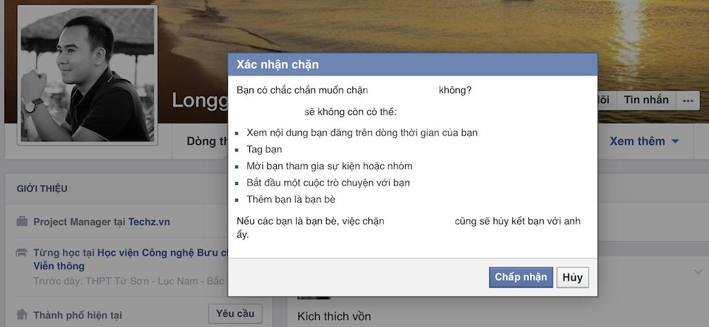 Chặn tài khoản trên Facebook