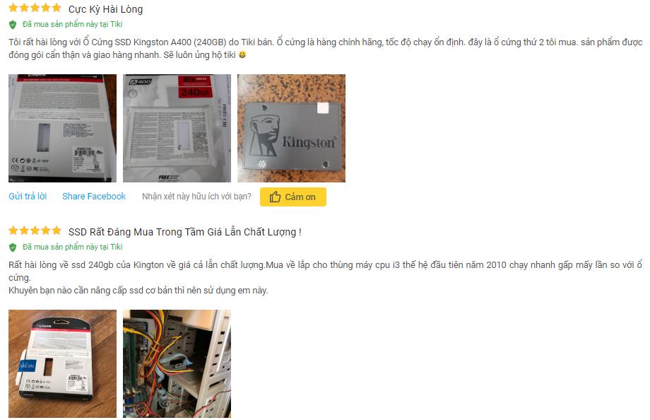 Khách hàng đánh giá về sản phẩm SSD Kingston A400