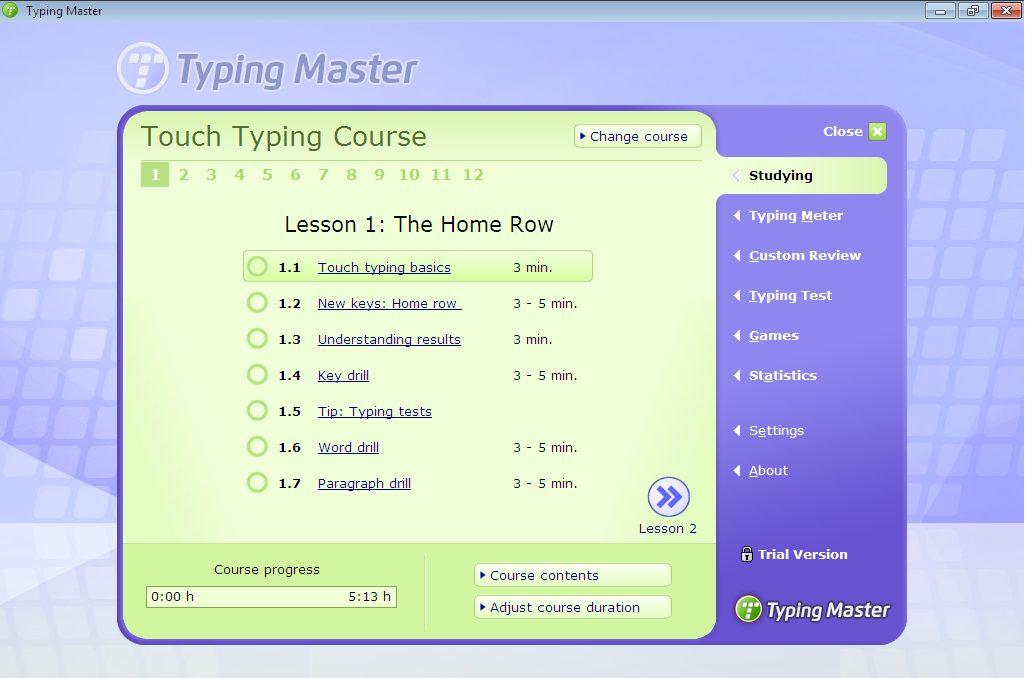 Màn hình làm việc của Typing Master