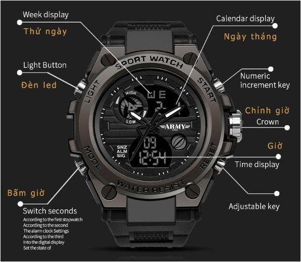 Thông số chi tiết đồng hồ thể thao ARMY