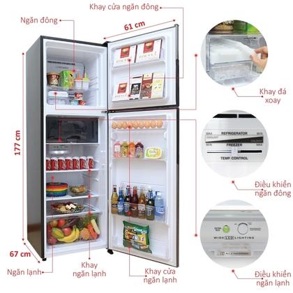 Ngăn chứa tủ Lạnh Inverter Sharp SJ-X346E 315 lít