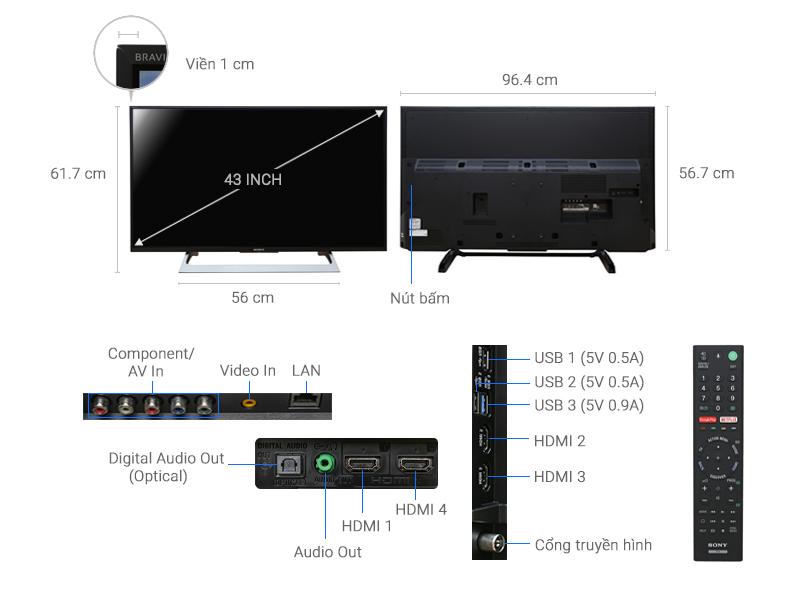 Thông số kỹ thuật Android Tivi Sony 4K 43 inch KD-43X8000E