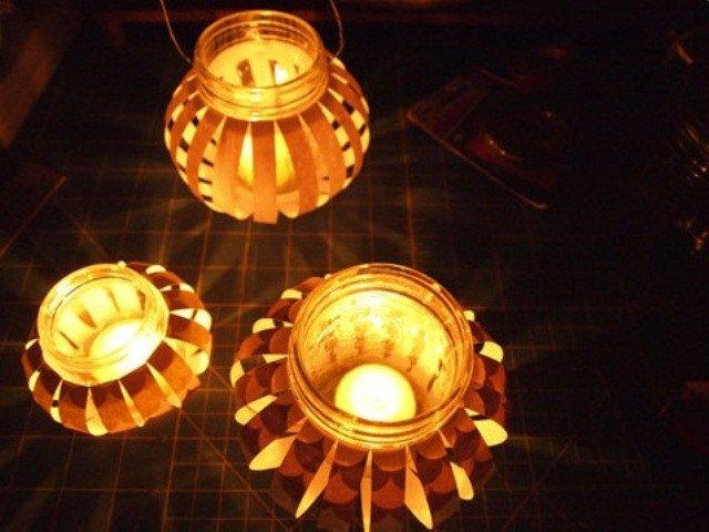 Đèn lồng làm từ hộp thủy tinh