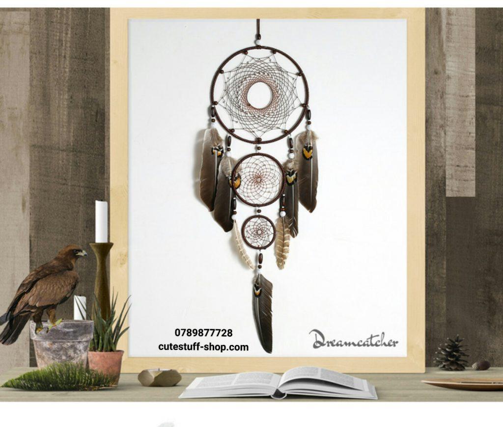 Dreamcatcher Lưới Bắt Giấc Mơ Lông Vũ Nâu
