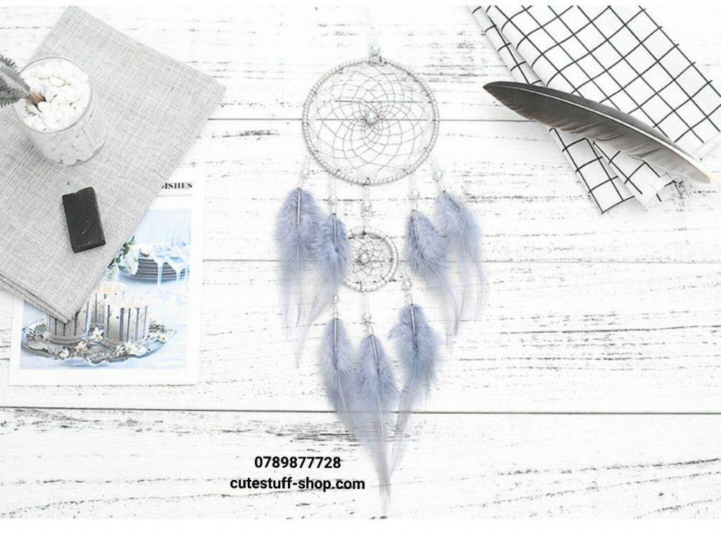 Dreamcatcher Lưới Bắt Giấc Mơ Lông Xám đẹp